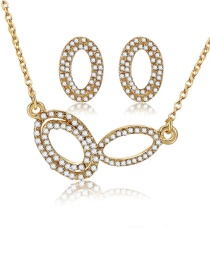 Fashion Gold Color Oval Shape Decorated Jewelry Sets(2pcs)
