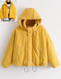 Fashion Yellow Pure Color Decorated Coat