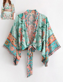 Fashion Light Green Flower Pattern Decorated Shirt