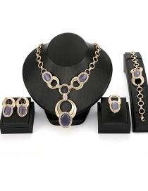 Fashion Purple Oval Shape Decorated Jewelry Sets(4pcs)