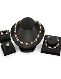 Fashion Multi-color Round Shape Decorated Jewelry Sets(4pcs)