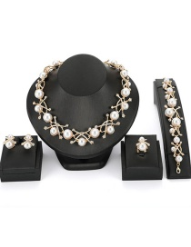 Fashion Gold Color Pearl Decorated Jewelry Sets(4pcs)