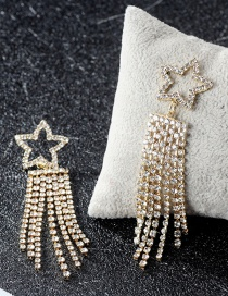 Elegant Gold Color Star Shape Decorated Earrings