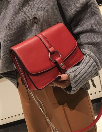 Fashion Claret Red Square Shape Decorated Shoulder Bag