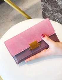 Fashion Pink Buckle Decorated Wallet