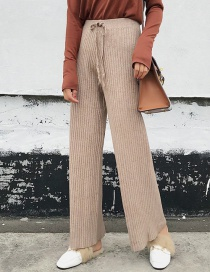 Fashion Beige Pure Color Decorated Wide-leg Trousers