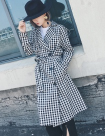 Fashion Black Grid Pattern Decorated Coat