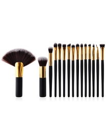 Fashion Brown Fan Shape Decorated Brushes (15pcs)