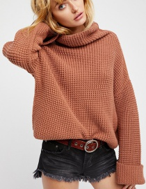 Fashion Light Coffee Pure Color Decorated Sweater
