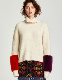 Fashion Beige Color Matching Decorated Sweater
