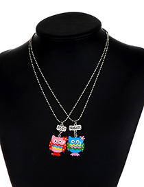 Fashion Multi-color Owl Shape Decorated Necklace( 2 Pcs )