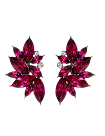 Fashion Plum Red Waterdrop Shape Decorated Earrings
