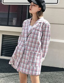 Fashion Multi-color Grid Pattern Decorated Coat