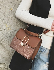 Fashion Brown Paillette Decorated Bag