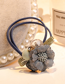Fashion Dark Blue Flower Decorated Double Layer Hair Band