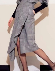 Fashion Gray Grid Pattern Decorated Skirt