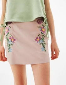 Fashion Pink Flower Pattern Decorated Skirt