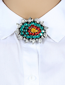 Fashion Blue Water Drop Shape Decorated Brooch