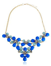 Fashion Blue Water Drop Shape Decorated Necklace