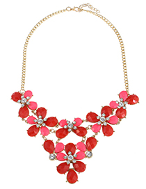 Fashion Red Water Drop Shape Decorated Necklace