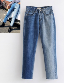 Fashion Blue Rivet Decorated Jeans