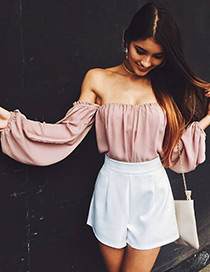 Sexy Pink Pure Color Decorated Off The Shoulder Shirt