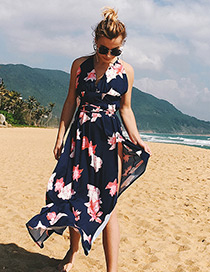 Sexy Navy Leaf Pattern Decorated Dress