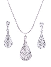 Fashion Silver Color Water Drop Shape Decorated Jewelry Set
