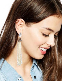 Elegant White Tassel Decorated Earrings