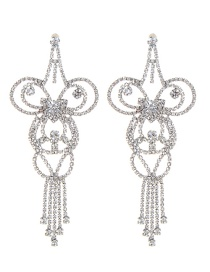 Fashion Silver Color Hallow Out Shape Decorated Earrings