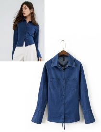 Fashion Dark Blue Pure Color Decorated Shirt