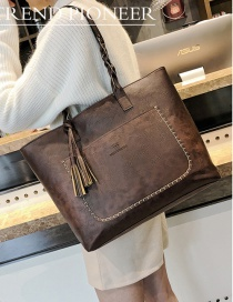 Trendy Dark Brown Tassel Decorated Square Shape Handbag