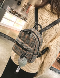 Trendy Yellow Grid Pattern Decorated Backpack