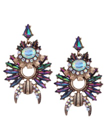 Fashion Multi-color Full Diamnd Decorated Hollow Out Earrings