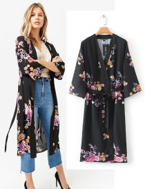 Fashion Black Flower Pattern Decorated Long Sleeves Coat