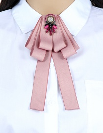 Fashion Pink Oval Shape Decorated Bowknot Brooch
