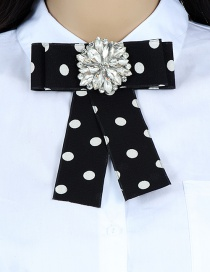 Fashion Black+white Flower Shape Decorated Bowknot Brooch