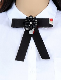 Fashion Black Flower Shape Decorated Bowknot Brooch