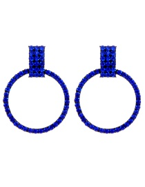 Fashion Sapphire Blue Circular Ring Design Simple Earrings