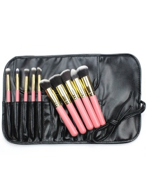 Fashion Pink+gold Color Color Matching Decorated Cosmetic Brush(10pcs With Bag)