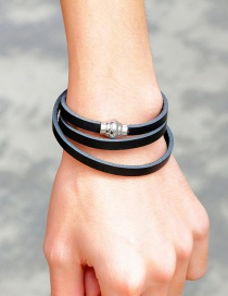 Fashion Black Pure Color Design Multi-layer Bracelet