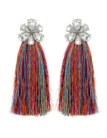 Trendy Multi-color Flower Shape Decorated Tassel Earrings