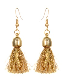 Trendy Khaki Tassel Decorated Pure Color Earrings