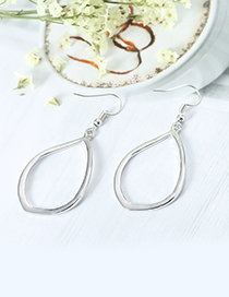 Fashion Silver Color Oval Shape Design Pure Color Earrings