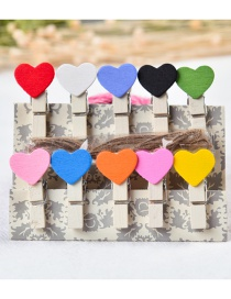 Fashion Multi-color Heart Shape Decorated Color Matching Clips(10pcs)