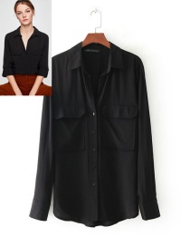 Fashion Black Pure Color Decorated Long Sleeves Shirt