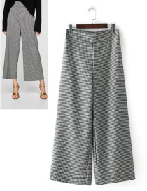 Fashion Gray Grid Pattern Decorated Wide-legs Pants