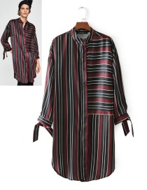 Fashion Red+black Stripe Pattern Decorated Long Sleeves Dress