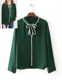 Fashion Green Bowknot Decorated Long Sleeves Shirt