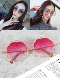 Fashion Pink Polygon Shape Design Hollow Out Sunglasses